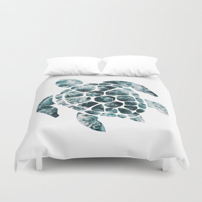 Sea Turtle - Turquoise Ocean Waves Bettbezug