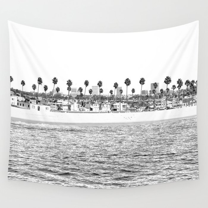 Vintage Newport Beach Print {4 of 4}   Photography Ocean Palm Trees B&W Tropical Summer Sky Wall Tapestry