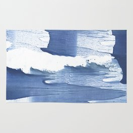 Steel blue blurred watercolor texture Rug