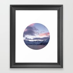 Telescope 8 ice mountain sunset Framed Art Print
