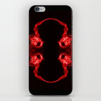 headphones iPhone & iPod Skins featuring Red Headphones by Steve Purnell