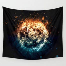 Burning Circle - Fire and Ice - Isolated Wall Tapestry