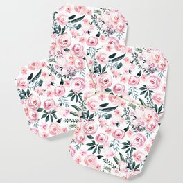 Floral Rose Watercolor Flower Pattern Coaster