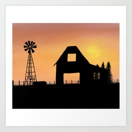 Country View Silhouette Art Print
