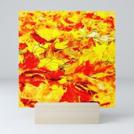 golden autumn leaves watercolor Mini Art Print