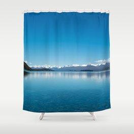 Blue line landscape Shower Curtain