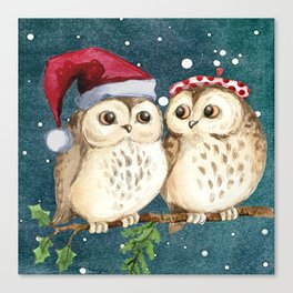 TWO CHRISTMAS OWLS IN A TREE Canvas Print