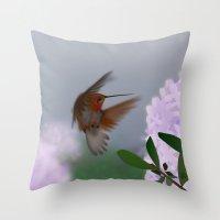 hummingbird Throw Pillows featuring Hummingbird by dBranes