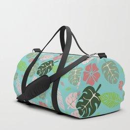 Tropical leaves Aqua paradise #homedecor #apparel #tropical Duffle Bag