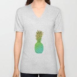 Gold and blue pineapple over blue strips Unisex V-Neck