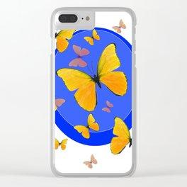 YELLOW BUTTERFLIES SWARM & BLUE RING MODERN ART Clear iPhone Case