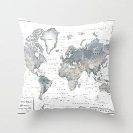 The World [Black and White Relief Map] Throw Pillow