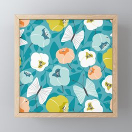 Butterfly Blossom Floral Turquoise Framed Mini Art Print