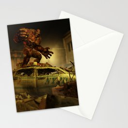 The Infernal Behemoth - Hell in The City - Fantasy  Artwork Stationery Cards