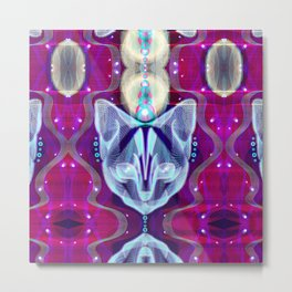 Pixel Galacticat Mirror Metal Print