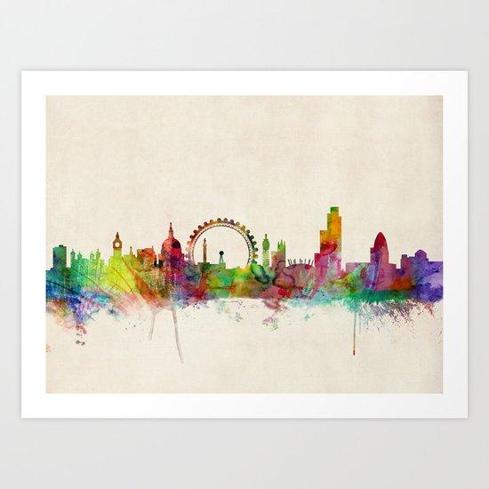 London Skyline Watercolor Art Print
