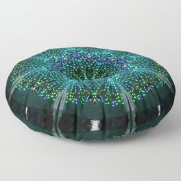 Kaleidoscope fantasy on lighted peacock shape Floor Pillow