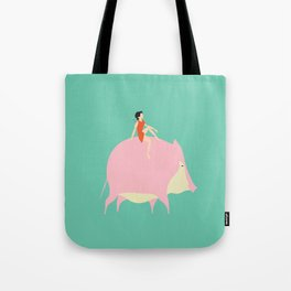 The boy on the Pig (green) Tote Bag