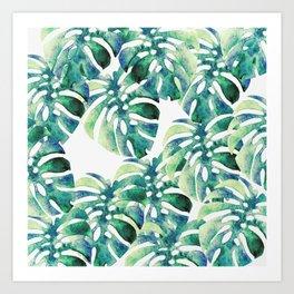 Monstera Pattern Green Art Print