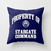 stargate Throw Pillows featuring Property of Stargate Command Athletic Wear White ink by RockatemanDesigns