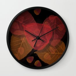 Fall Leaves Mosaic Wall Clock