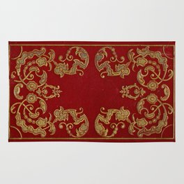 Antique Book Cover from 1856* Literacy Art * Red * Gold * Gilt Rug