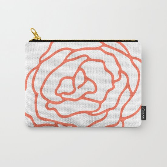 Rose Deep Coral on White Carry-All Pouch