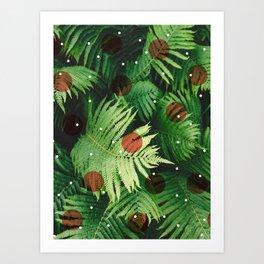 Landscape plants & circles Art Print