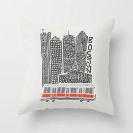 Boston City Illustration Throw Pillow