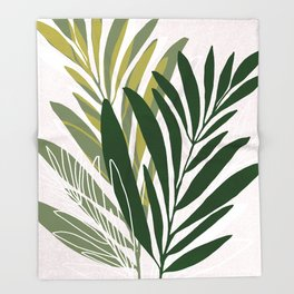 Olive Branches / Contemporary Botanical Art Throw Blanket