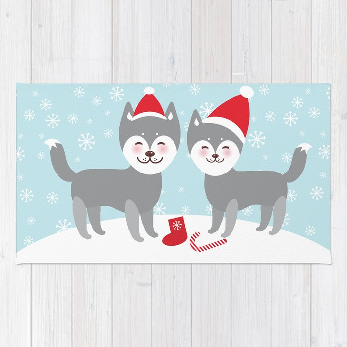 Merry Christmas New Year\'s card design funny gray husky dog in red ...