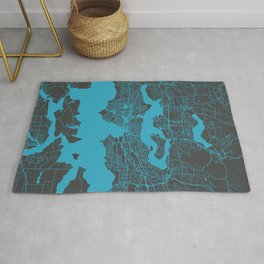 Seattle map blue Rug