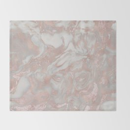 French polished rose gold marble Throw Blanket