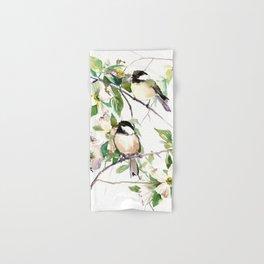 Chickadees and Dogwood Flowers Hand & Bath Towel