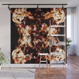 Electrifying orange sparkly triangle fire flames Wall Mural