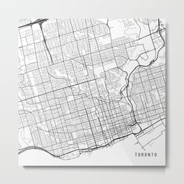 Toronto Map, Canada - Black and White Metal Print