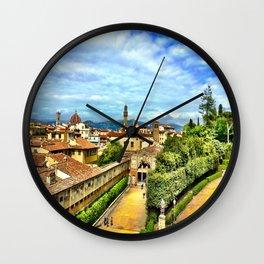 Florence from Boboli Gardens at Pitti Palace Wall Clock
