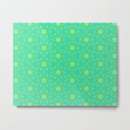 Teal and Green Star Flower Metal Print