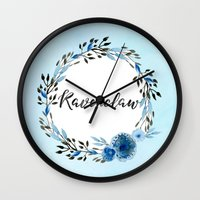ravenclaw Wall Clocks featuring HP Ravenclaw in Watercolor  by Snazzy Sisters