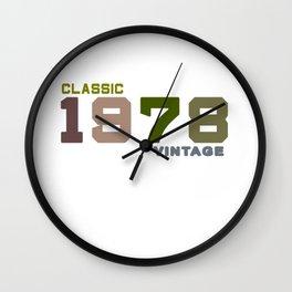 41th Birthday Gift Vintage 1978 T-Shirt Men Women Wall Clock