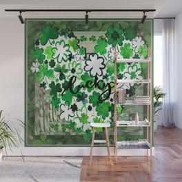 Bright Green Lucky Shamrock Heart Wall Mural