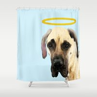 great dane Shower Curtains featuring Great Dane Art - I Didn't Do It by Sharon Cummings