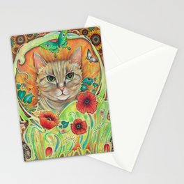 Art Nouveau Cat with poppy flowers Stationery Cards
