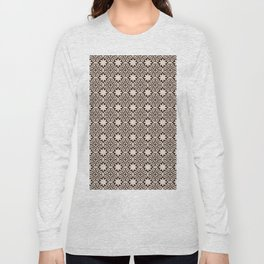 -A28- Brown Traditional Moroccan Pattern Artwork. Long Sleeve T-shirt