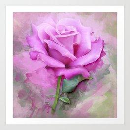 Watercolour Pastel Lilac Rose Art Print