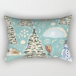 Winter Seamless Pattern with bunnies, spruce trees and snowman Rectangular Pillow