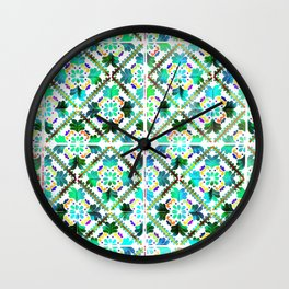 Blue Morrocan Tiles watercolot Wall Clock