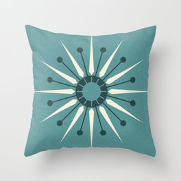 Vintage Sunburst in Blue ©studioxtine Throw Pillow