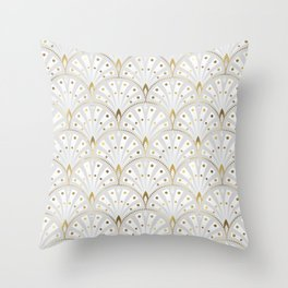 marble and gold art deco scales pattern Throw Pillow