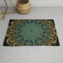Teal and Gold Mandala Swirl Rug